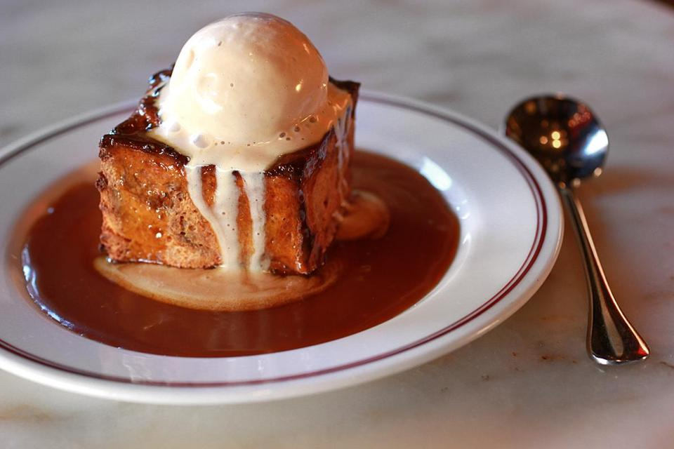 Butterscotch bread pudding with praline ice cream and salted caramel.